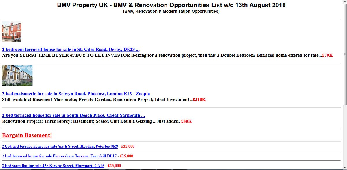 BMV Property UK bargain property list